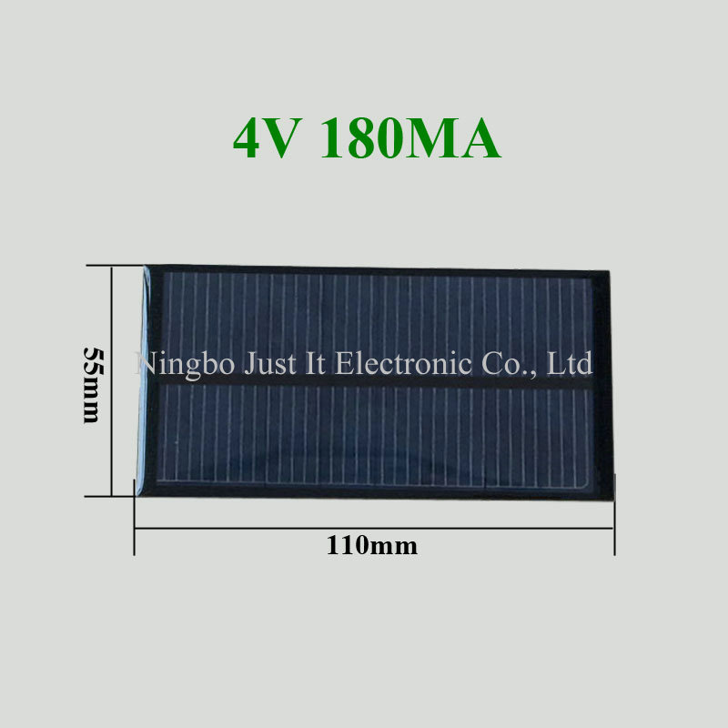 4V 180mA 0.72W 110x55mm Epoxy Mini Solar Module