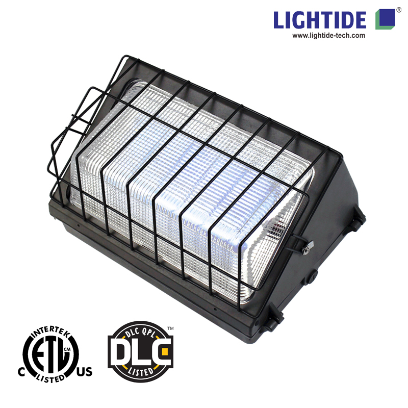 DLC Qualified 90W LED Wallpack & Parking Lot Lights, 200-480VAC, Glass Refractor, 5 Years Warranty