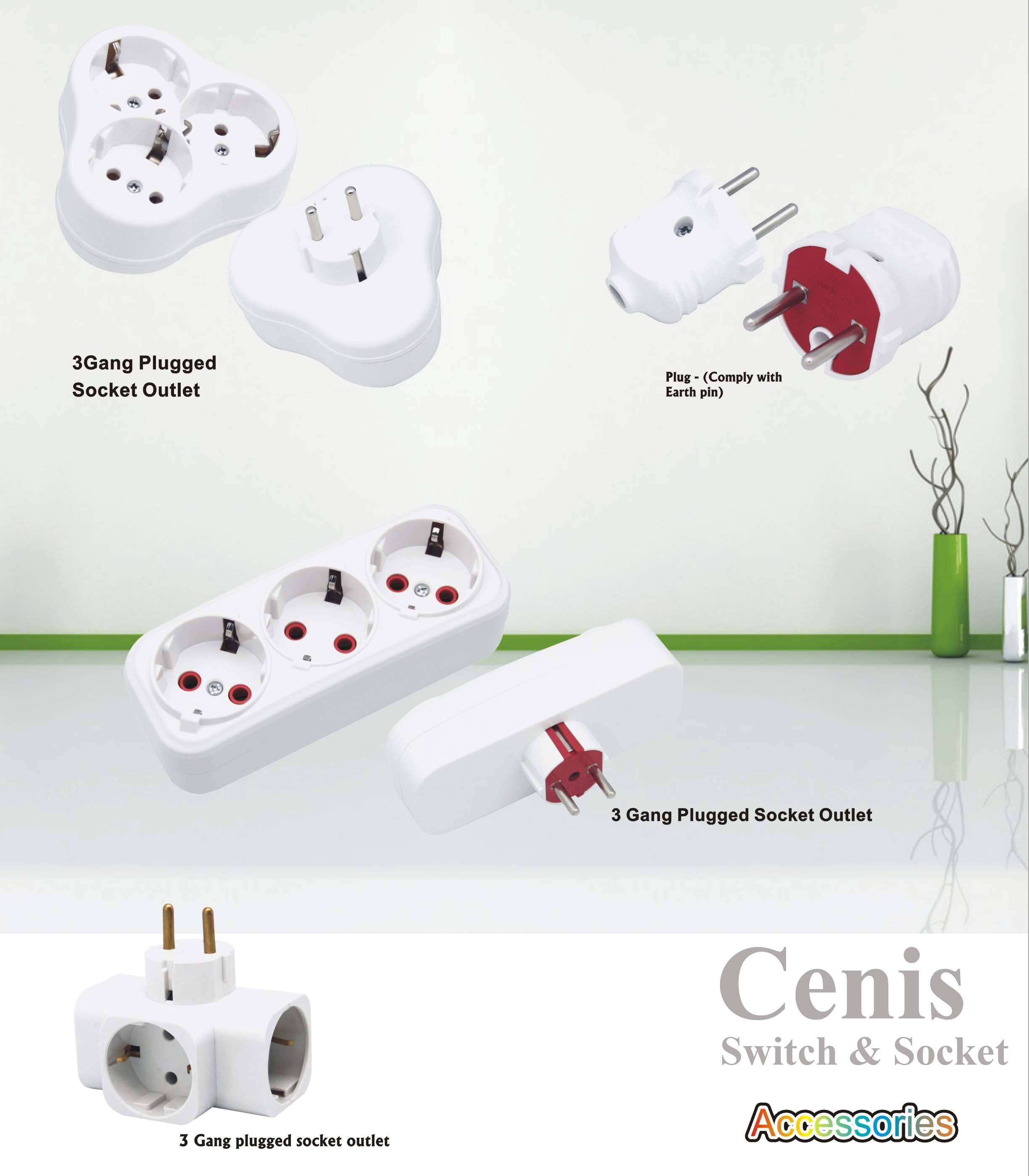 Plug, extension socket, adapter, junction box,
