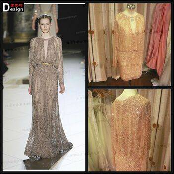 2015 elegant latest Real Picture Long Sleeves Elie Saab Short Evening Gowns Dress /Dresses