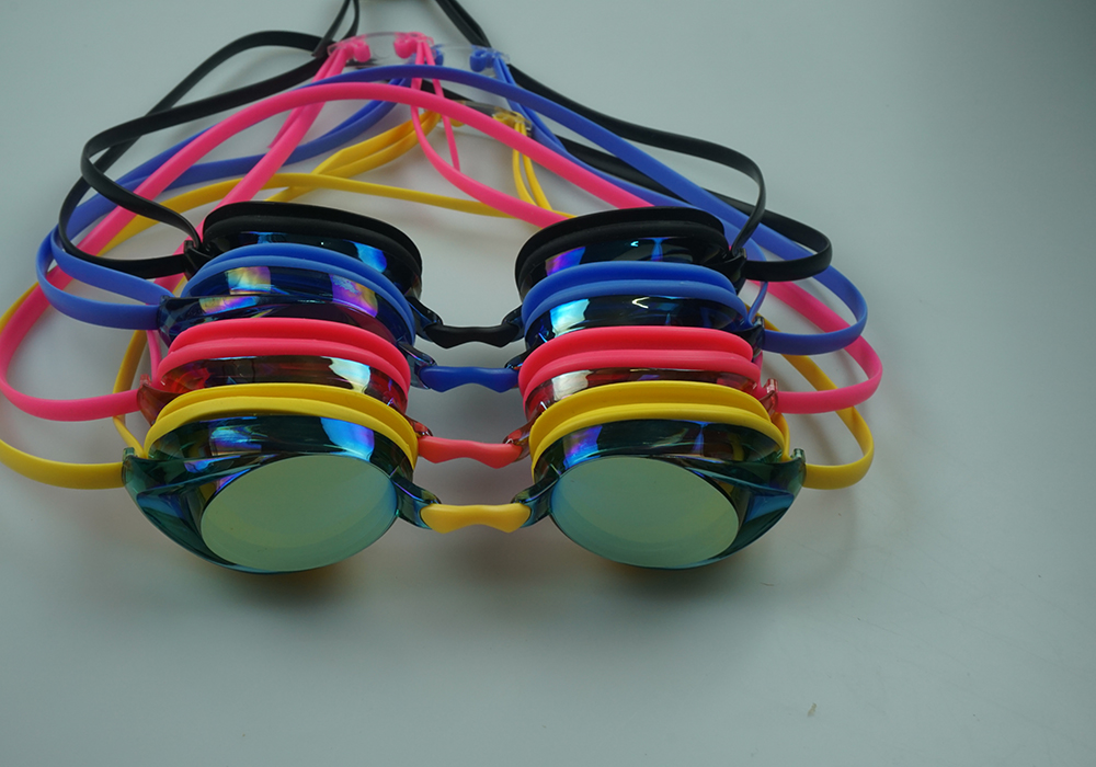 Electroplating PC lens silicone swimming goggles