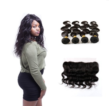 [8A]4 Bundles Peruvian Body Wave Hair Weave With Lace Frontal