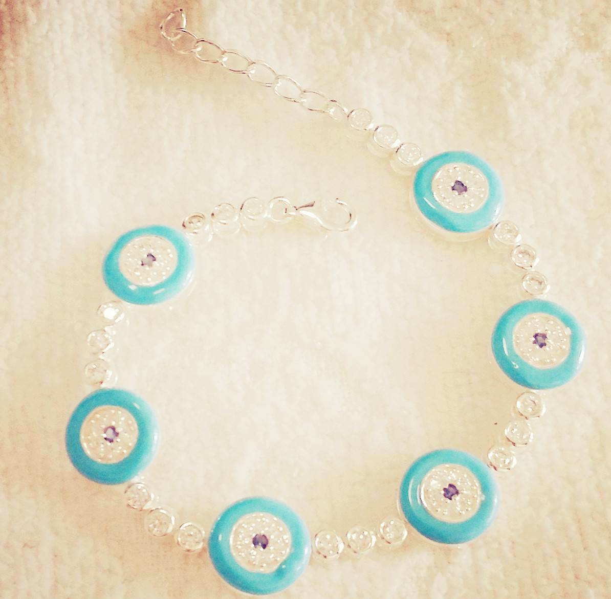 gold plated turquoise blue evil eye bracelet