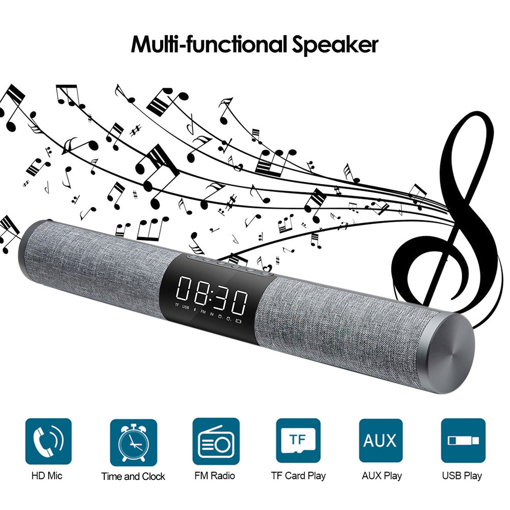 High sound quality Fabric Bluetooth sound bar wireless in cylinder-shape with HD Screen time & alarm