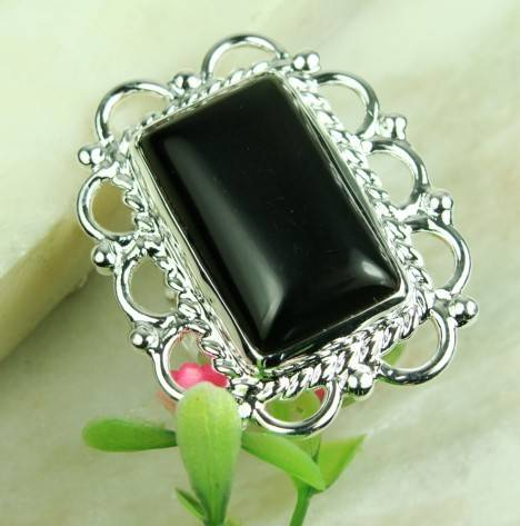 925 Sterling Silver  Black onyx gemstone ring