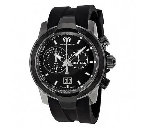Discount mens watches Technomarine UF6 Chronograph Black Dial Gunmetal-Tone