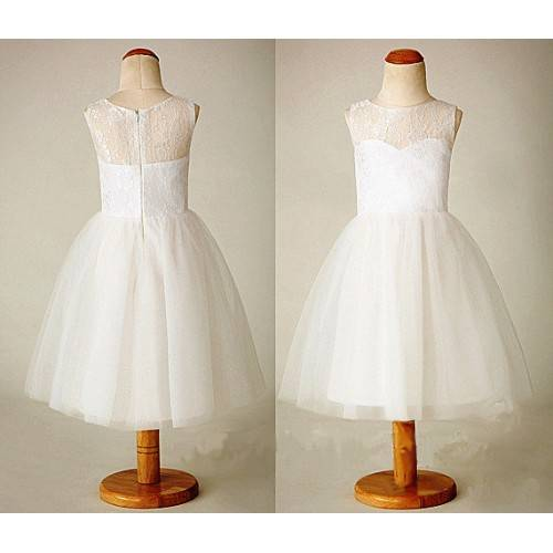ELEGANT PRINCESS LACE TEA LENGTH FLOWER GIRL DRESS F6002