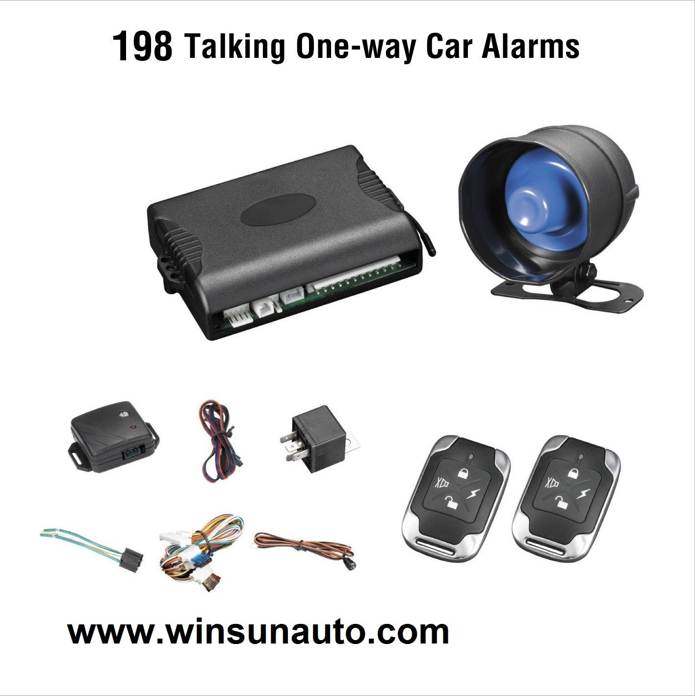 one way car alarm with human voice reminding