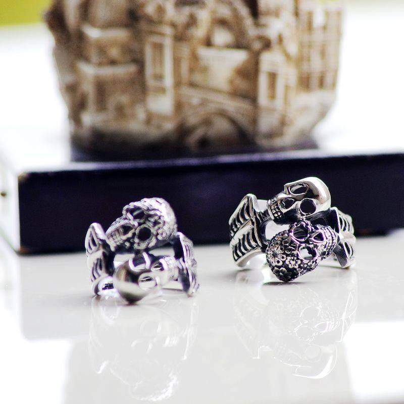 Men's Double Skull Stainless Steel Ring, Double Dead Skull Ring for Man
