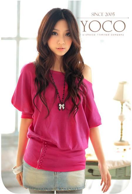 Korea Girl New Arrival Fashionable Short Sleeve off-Neck Buttons Lap T-Shirt blouse