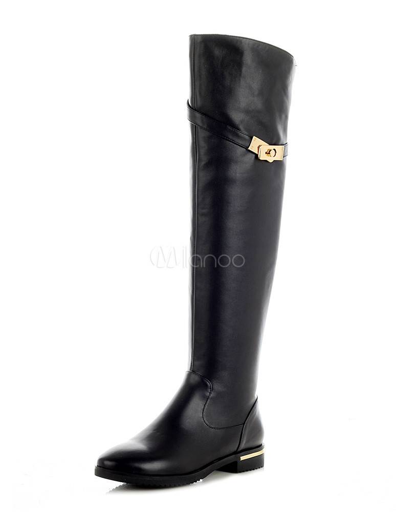 2013 Sexy Black Round Toe Cowhide Over the Knee Boots for Women