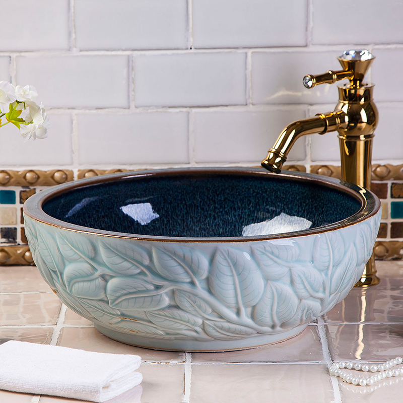 Hotel High-end Luxury Hand Painting Bathroom Without Faucet Above Countertop Ceramic Washbasin Sinks