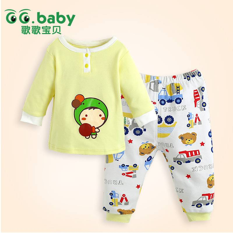 2015 New Spring Autumn Baby Clothing Sets 2pcs Long Sleeve Newborn Shirt+Pants Baby Boy Girl Sets