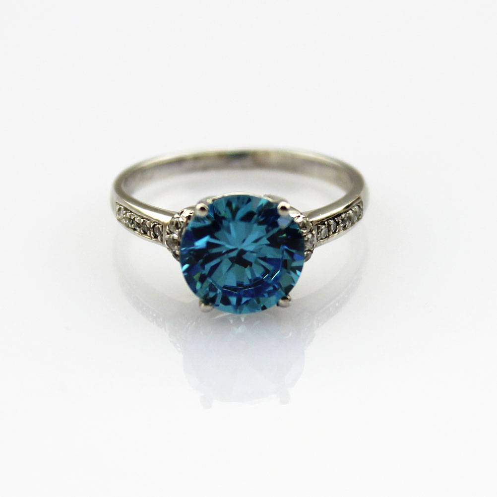 925 Silver Ring with Blue Cubic Zircon Jewelry (F61)