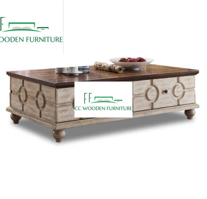 French style wooden rockwell coffee table with lift top