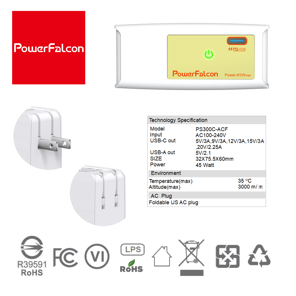PowerFalcon 45W PD charger / Foldable