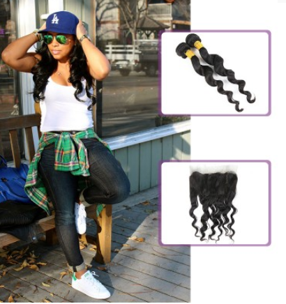 [8A]2 Bundles Malaysian Loose Wave Hair Weave with 360 frontal