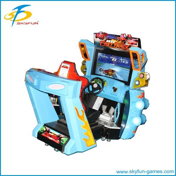 Arcade electronic driving car game machine