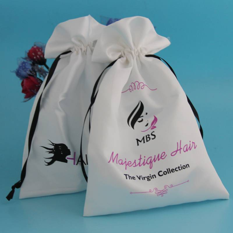 white color hair extensions satin packing bag with logo printed