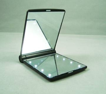 Square shaped plastic led light up cosmetic mirror with 8 led lights