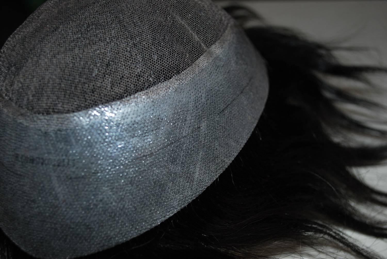Lace front Jet black1# PU side&back mens toupee 100% humn hair base size adjustable