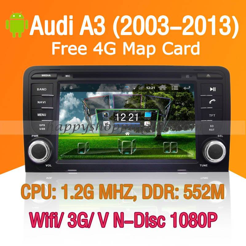 Android Car DVD Player for Audi A3 - GPS Navigation Wifi 3G USB