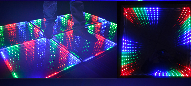 LED time tunnel 3D Mirror Infinity DJ RGB lighting grid mesh digital toughened for party background