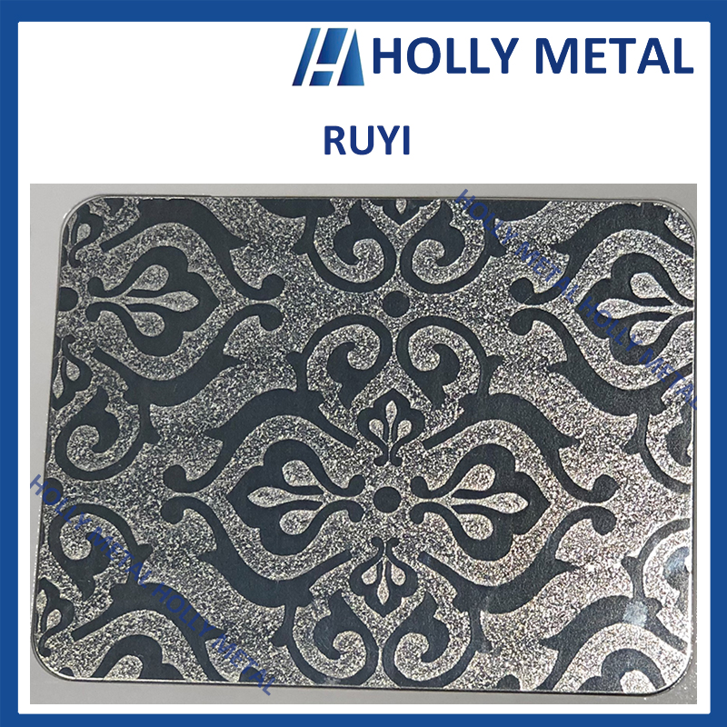 Stainless Steel Pattern Embossed Etched Decoration Sheet (Ruyi)