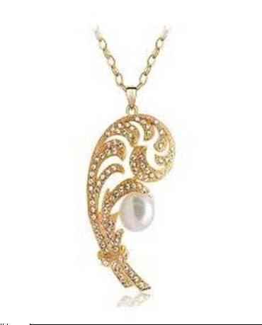 Sell Unique Gold Plating KC Diamond Pearl Necklace,fashion jewelry