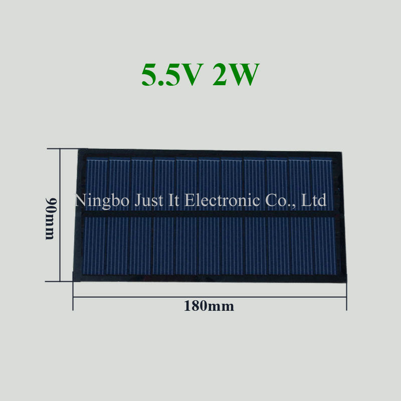 5.5V 360mA 2W 180x90mm Small PET Solar Panel