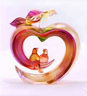 wholesale liu li art glass craft peace and happiness for wedding gift