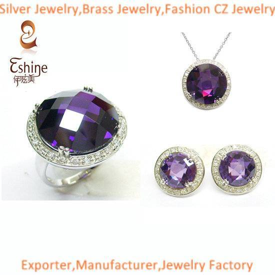 2015 High Quality Brass CZ Jewelry Set with big round amethyst CZ stones Wedding Jewelry