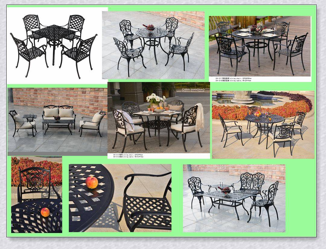 Round cast aluminum table and chair outdoor dining set 5 pc/patio furniture