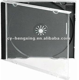 PS 10mm single transprent cd case with black tray