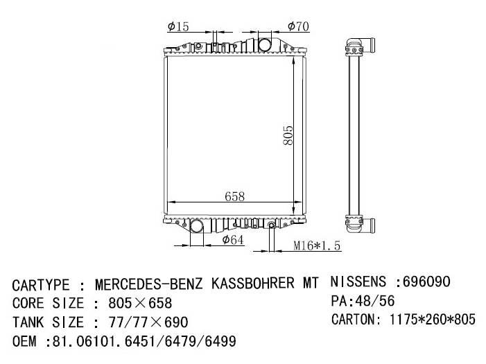 Mercedes-Benz Kassbohrer radiator OEM: 81061016451 nissens 69609/696090