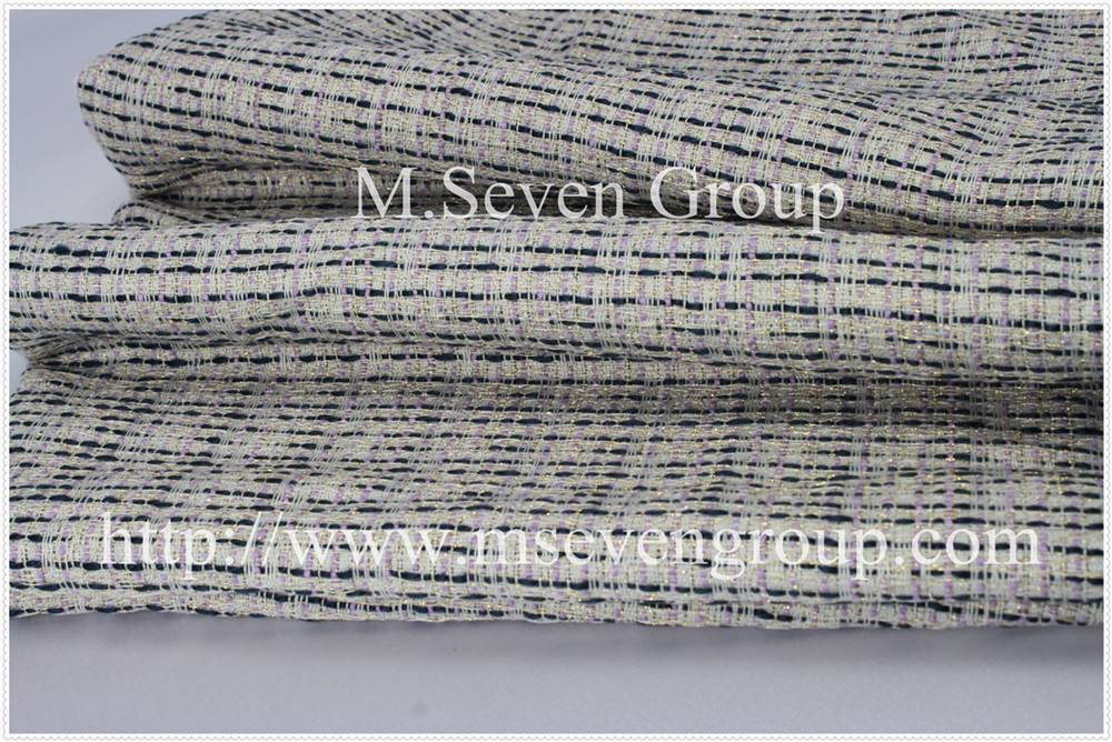 100% polyester Fancy woven tweed sweater Fabric textile