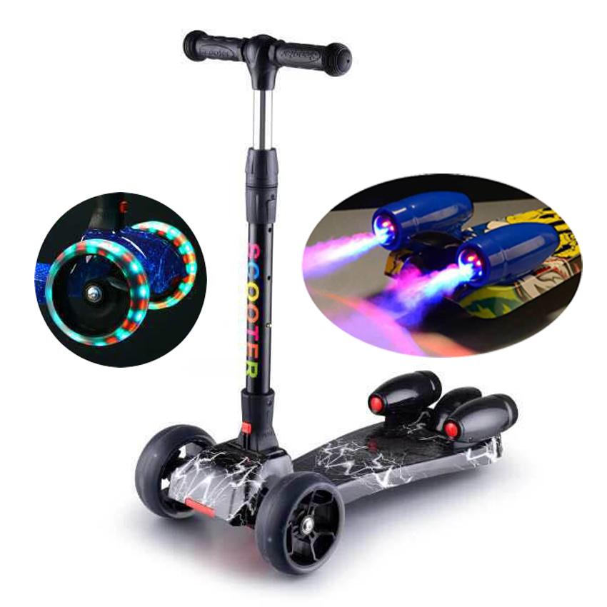 colorful pattern 3 wheels folding rocket water spray cheap scooter