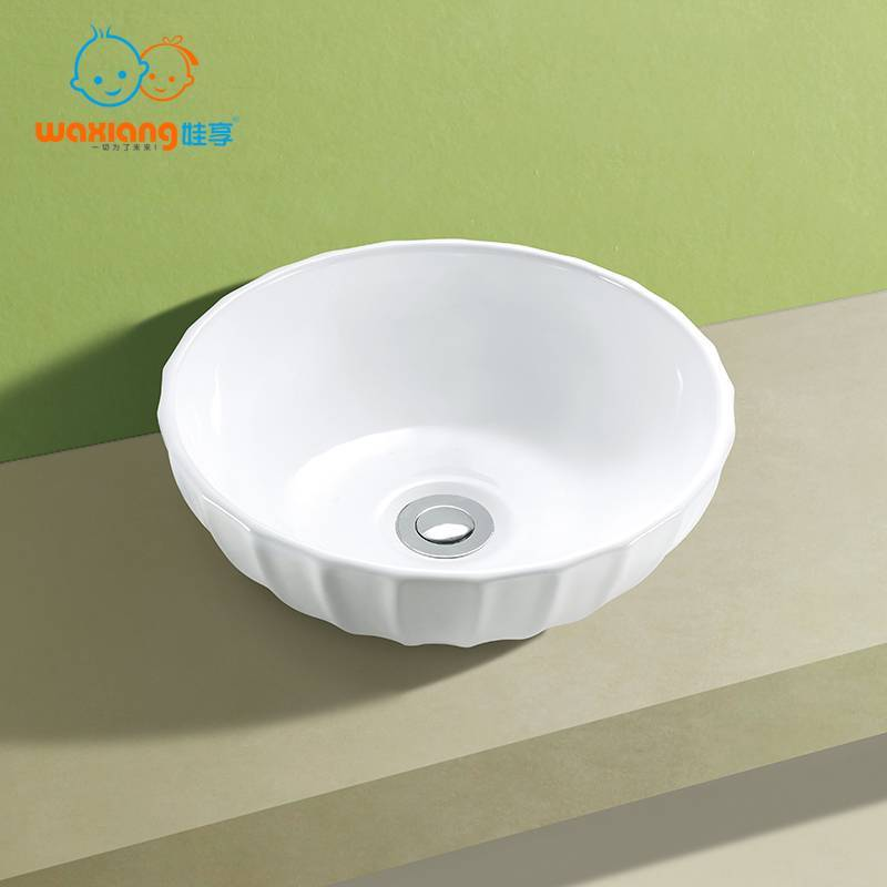 Bathroom Porcelain Ceramic Vessel Vanity Sink Art Basin Ripple-Design