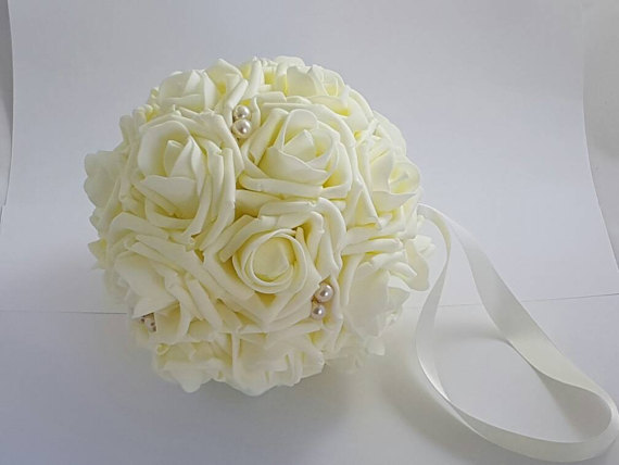 wedding artificial white rose flower ball