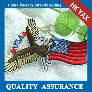HK Yax factory customized embroidery eagle patch for logo