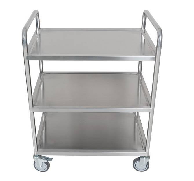 Three layer stainless steel double handle warehouse cart RCS-038
