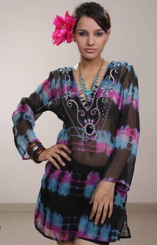 Chiffon Embellished Tunic Kaftan