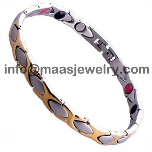 :7mm Lady two tone stainless steel magnetic therapy bracelets