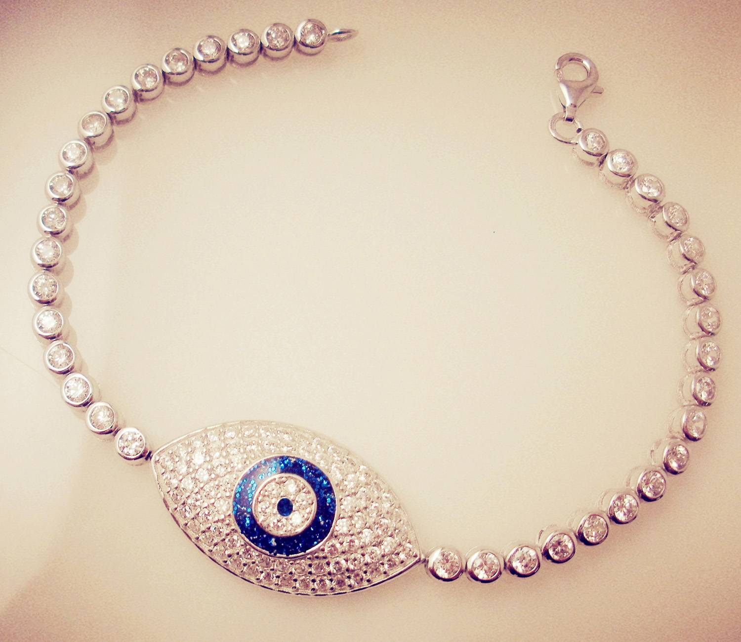 blue shiny single evil eye bracelet