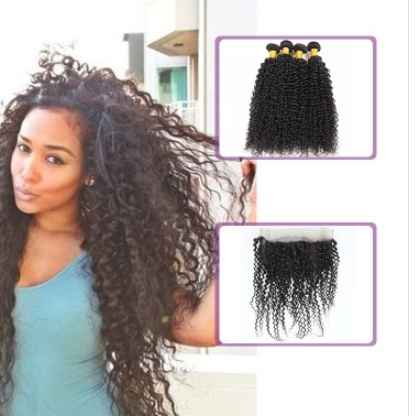 [8A]4 Bundles Indian Hair Weave Kinky Curly with 360 Lace frontal