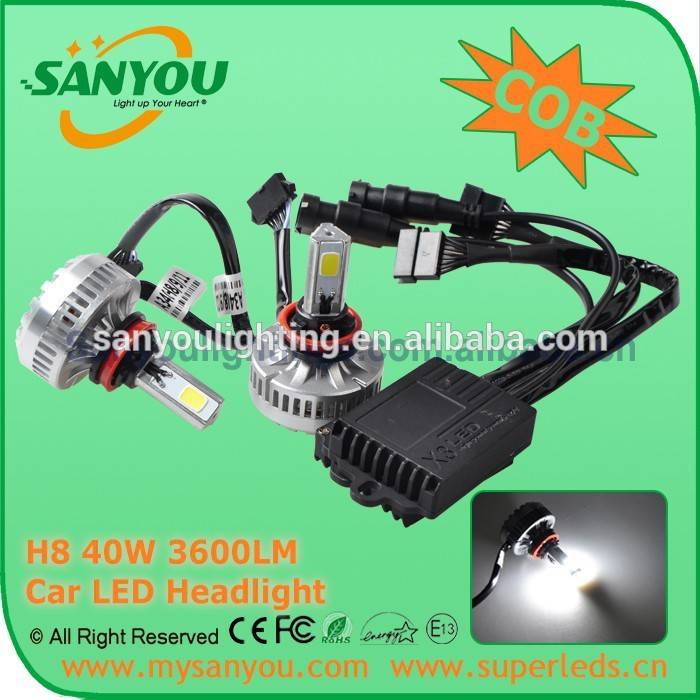 Sanyou 40W Car LED Headlight, 6000K 3600LM auto LED Headlight , 9005 12V COB automotive headlight