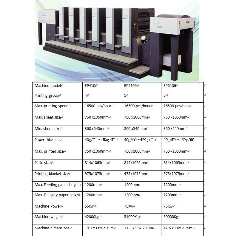 Sheet Fed Multicolor Printing Machine Model: EP-160