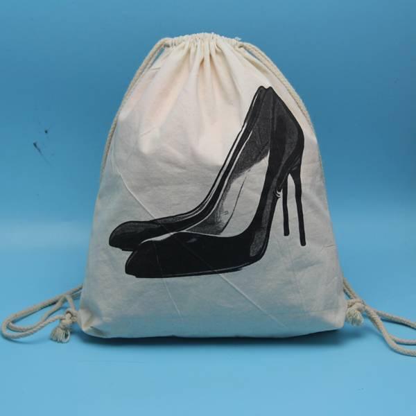 custom made drawstring cotton shoes bag
