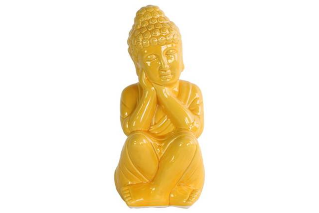Ceramic Sitting Buddha Figurine with Rounded Ushnisha and Head on Hands