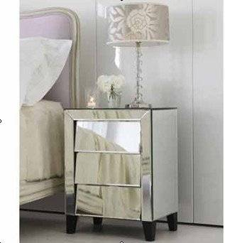 Glass Venetian Mirrored Furniture, Side Table, Bedside Table, Console